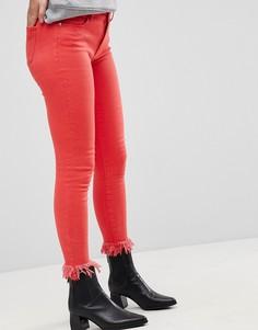 Цветные джинсы скинни с необработанным низом Only - Красный