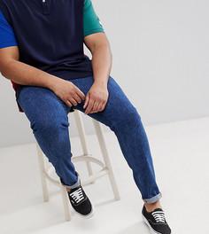 Темные джинсы скинни в стиле ретро с необработанными краями ASOS PLUS - Синий