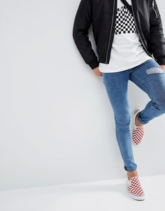 Синие джинсы скинни с эффектом кислотной стирки ASOS - Синий