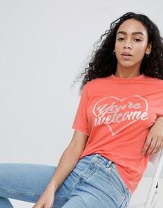 Оранжевая футболка с принтом Youre welcome ASOS DESIGN - Оранжевый