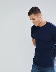 Темно-синяя фактурная футболка с асимметричным краем Bellfield - Темно-синий