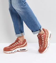 Бархатные кроссовки персикового цвета Nike Air Max 95 - Оранжевый