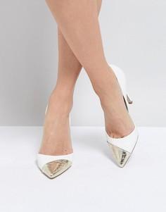 Туфли на высоком каблуке с контрастной вставкой на носке Miss KG - Белый