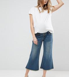 Широкие джинсы с необработанными краями и съемной вставкой для живота Bandia Maternity - Синий