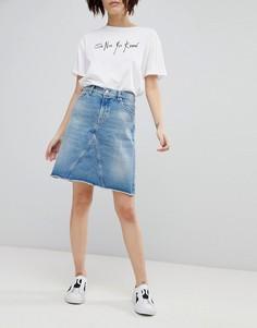Джинсовая мини-юбка в стиле 90-х HUGO - Синий