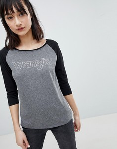 Бейсбольная футболка с рукавами реглан и логотипом Wrangler - Серый