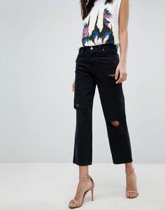 Широкие джинсы с рваными коленками Diesel Niclah - Черный