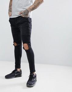 Черные байкерские джинсы скинни с молниями Brave - Черный