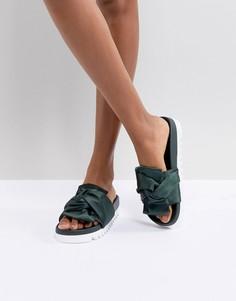 Зеленые сандалии с атласным бантом Glamorous - Зеленый