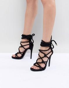 Босоножки на каблуке с завязкой-шнурком Steve Madden Dream - Черный