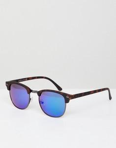 Квадратные солнцезащитные очки с зеркальными стеклами в черепаховой оправе New Look - Синий