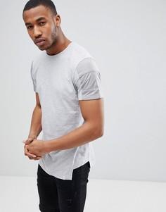 Удлиненная футболка с контрастными вставками на рукавах Jack & Jones Core - Серый