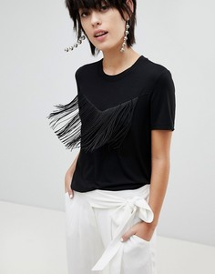 Трикотажная футболка с короткими рукавами и бахромой Pieces - Черный