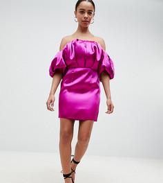 Платье-бандо мини с пышной отделкой ASOS DESIGN Petite - Розовый