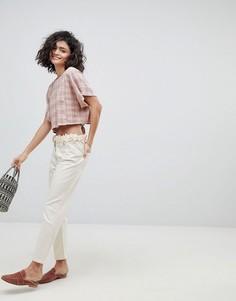 Укороченные джинсы с цветочной аппликацией Intropia - Кремовый