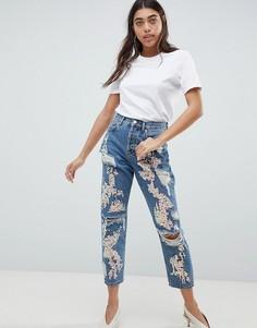 Выбеленные джинсы бойфренда с пайетками ASOS DESIGN - Синий