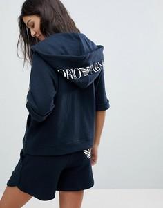 Худи с рукавами 3/4 и логотипом Emporio Armani - Темно-синий