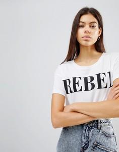 Трикотажная футболка с принтом Rebel Noisy May - Белый