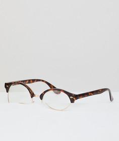 Очки в стиле ретро с черепаховой оправой и прозрачными стеклами AJ Morgan - Коричневый
