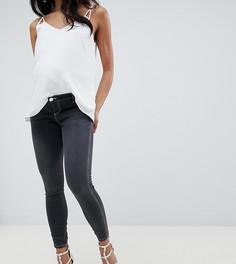 Черные выбеленные джинсы скинни с завышенной талией и контрастной строчкой ASOS DESIGN Maternity Ridley - Черный
