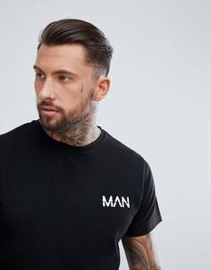Черная удлиненная футболка с аппликацией boohooMAN - Черный