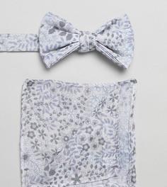 Белый галстук-бабочка и платок для пиджака с цветочным принтом ASOS DESIGN - Белый