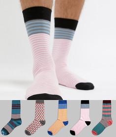 Набор из 5 пар носков (в горошек / в полоску) ASOS DESIGN - Мульти