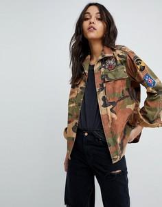 Куртка с камуфляжным принтом и нашивками Replay - Мульти
