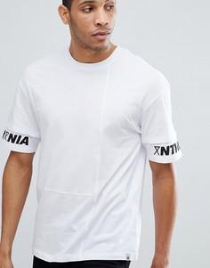 Футболка с заниженной линий плеч и принтом на рукавах Jack & Jones Core - Белый