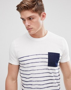 Футболка в полоску с контрастным карманом Esprit - Белый