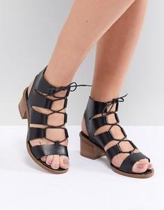 Кожаные босоножки на блочном каблуке со шнуровкой Office Misteria - Черный