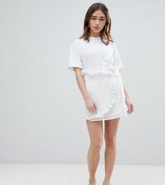 Мини-юбка с запахом и вышивкой ришелье Lost Ink Petite - Белый