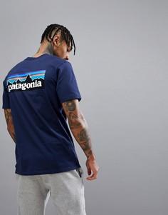 Темно-синяя футболка с логотипом на спине Patagonia P-6 - Темно-синий