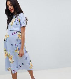 Платье для выпускного с кроп-топом и цветочным принтом ASOS DESIGN Maternity - Мульти