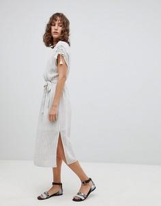 Платье миди в полоску с кисточками Suncoo - Белый