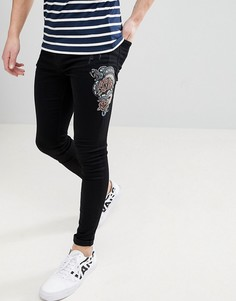 Обтягивающие джинсы с вышитой змеей Brooklyn Supply Co - Черный
