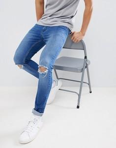 Обтягивающие джинсы с рваными коленями Brooklyn Supply Co. - Синий