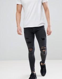 Черные обтягивающие джинсы с рваной отделкой Gym King - Черный
