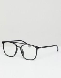 Квадратные очки с прозрачными стеклами Jeepers Peepers - Черный