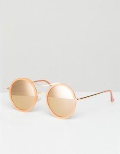 Круглые солнцезащитные очки в светло-коричневой оправе Jeepers Peepers - Коричневый