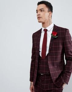 Супероблегающий пиджак в клетку ASOS DESIGN Wedding - Красный