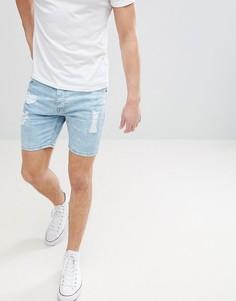 Светлые джинсовые шорты с рваной отделкой Brave Soul - Синий