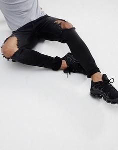 Супероблегающие черные выбеленные джинсы Hoxton Denim - Черный