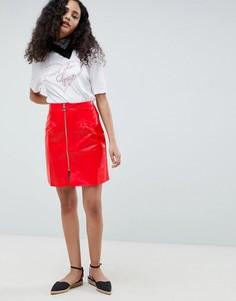 Виниловая юбка-трапеция с молнией Glamorous - Красный