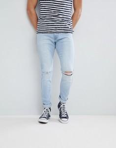 Голубые джинсы узкого кроя с рваной отделкой Dr Denim Clark - Синий