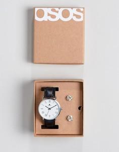 Черные часы и запонки ASOS - Черный