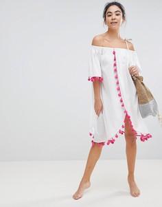 Пляжное платье с открытыми плечами America & Beyond - Белый