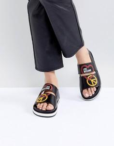 Сандалии с логотипом Love Moschino - Черный