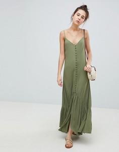 Платье макси с мятым эффектом на пуговицах ASOS DESIGN - Зеленый