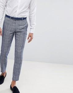 Голубые брюки скинни в клетку Moss London Wedding - Синий